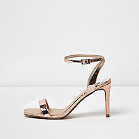 Gold barely there strappy court heel sandals