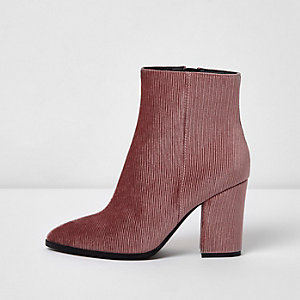 Pink corduroy block heel pointed ankle boots