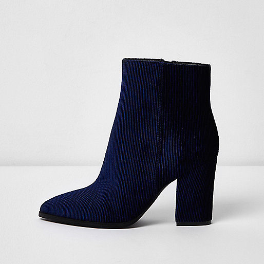 Navy corduroy block heel pointed ankle boots