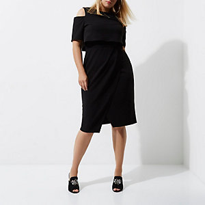 Plus black cold shoulder double layer dress
