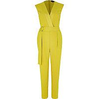 Yellow sleeveless tailored jumpsuit