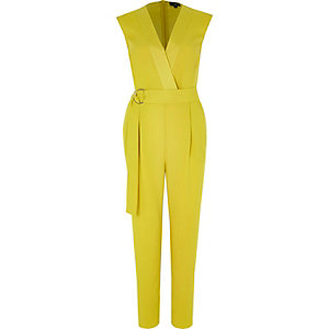 Yellow sleeveless tailored jumpsuit
