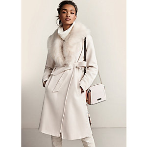 Cream faux fur collar belted robe coat