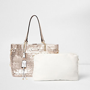 Rose gold metallic laser cut beach bag