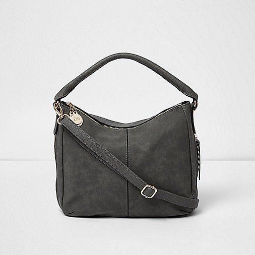 Grey zip side slouch bucket bag