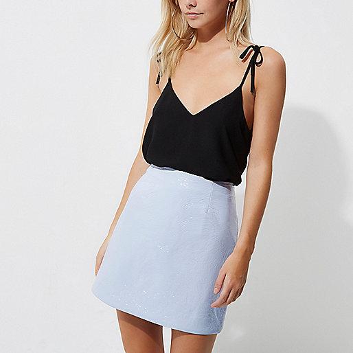 Petite light blue vinyl mini skirt