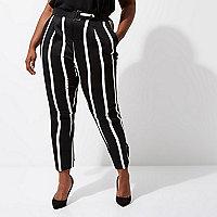 Plus black stripe tapered leg trousers