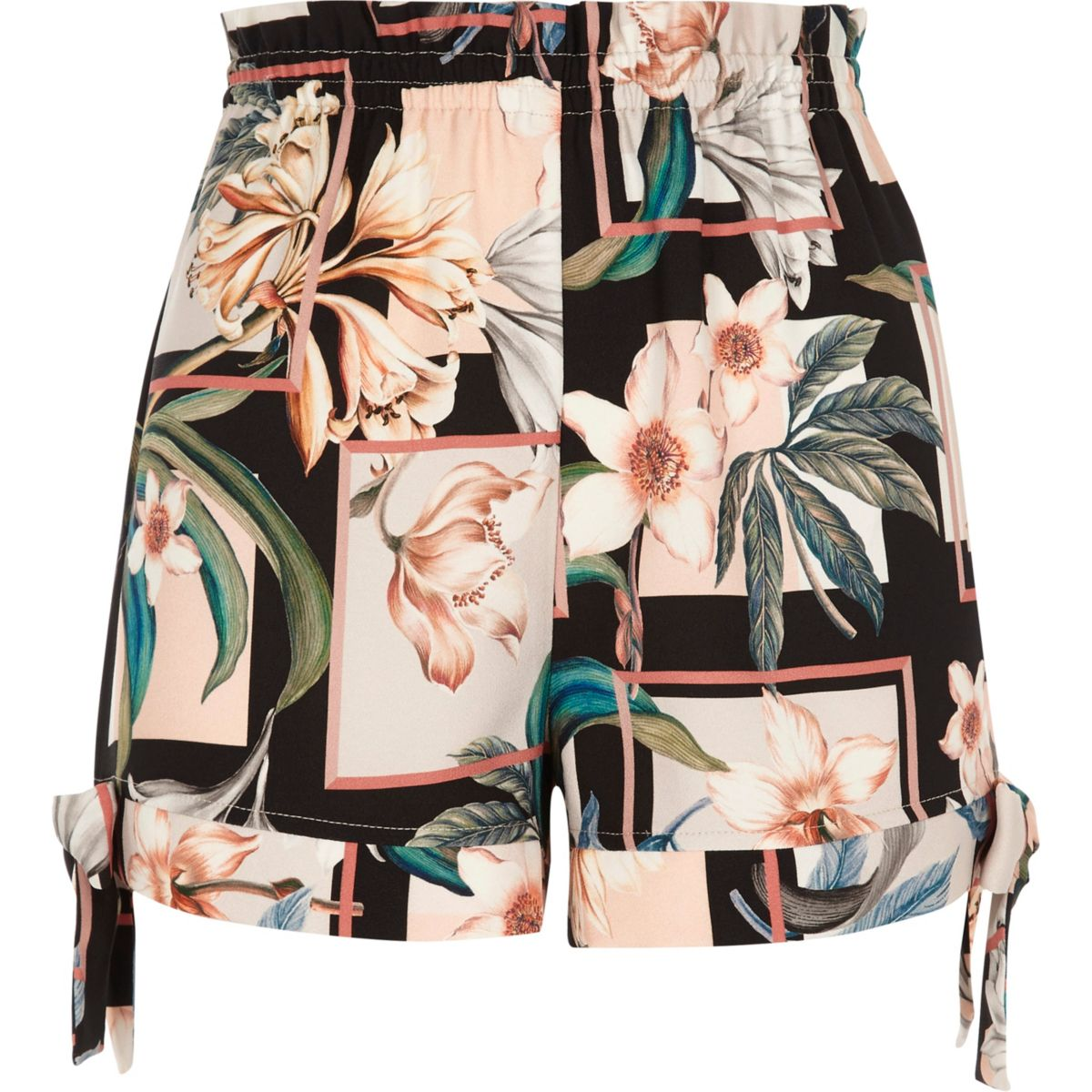 Black floral print bow hem shorts