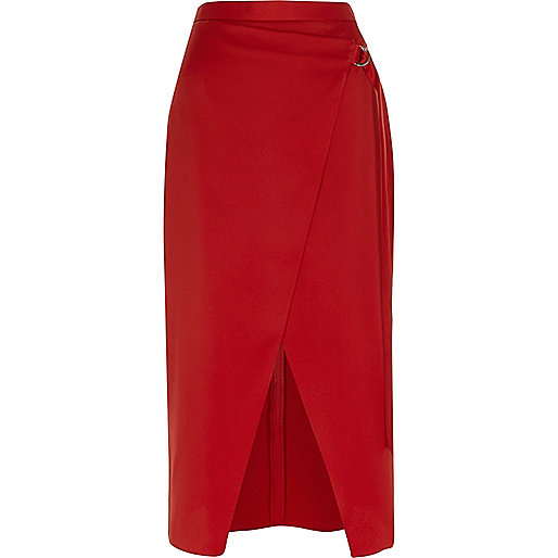 Red wrap front D-ring midi skirt