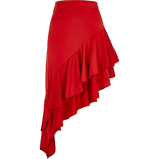 Red asymmetric frill hem skirt
