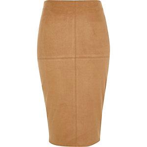 Tan brown faux suede pencil skirt