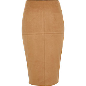 Tan brown faux suede pencil skirt