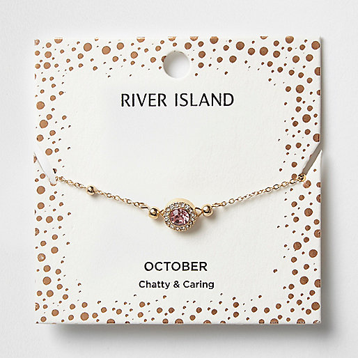 Pink gem October birthstone bracelet