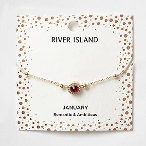 Armband mit rotem Geburtsstein des Monats Januar