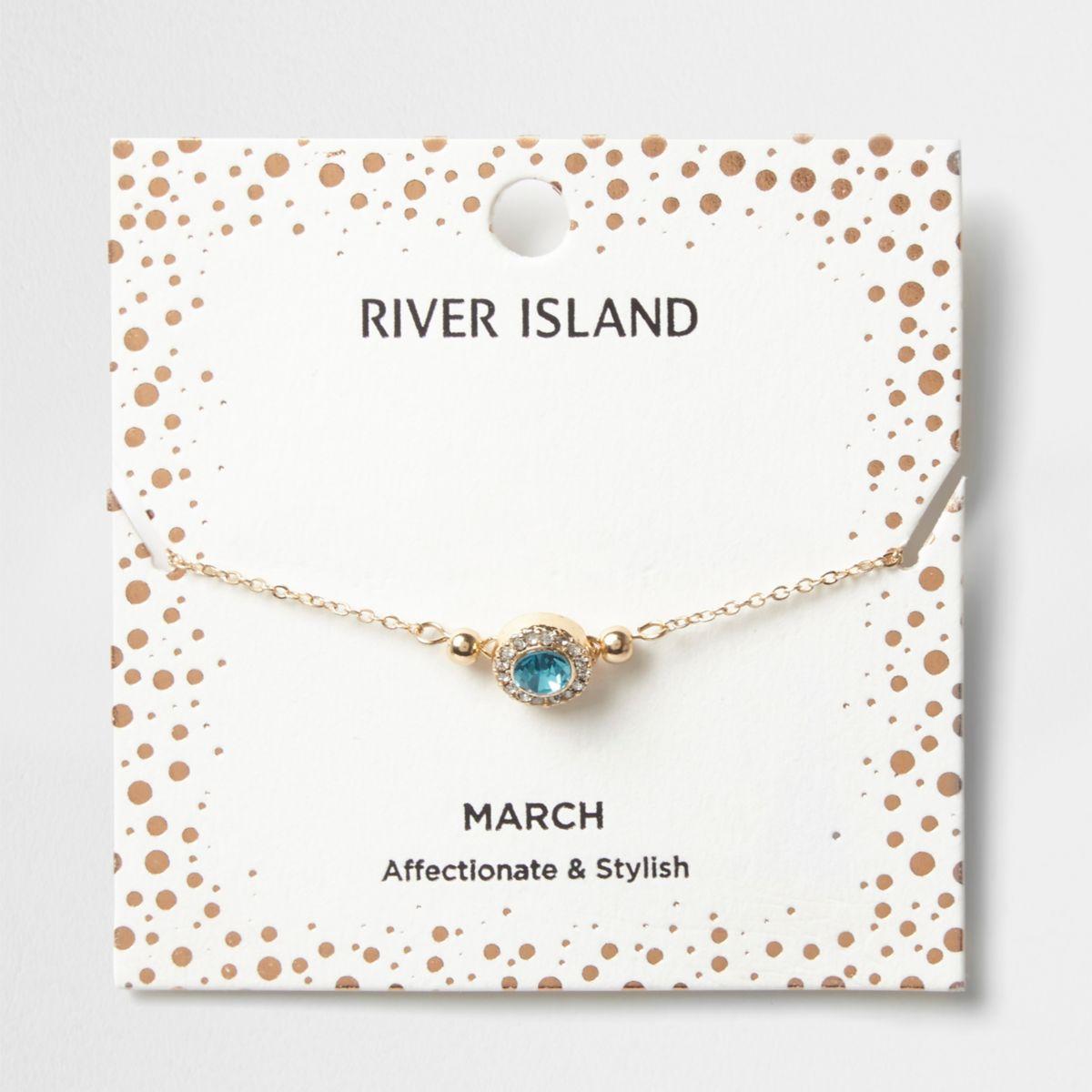 Armband mit blauem Geburtsstein des Monats März