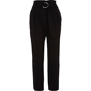 Black high waisted ring belt tapered trousers