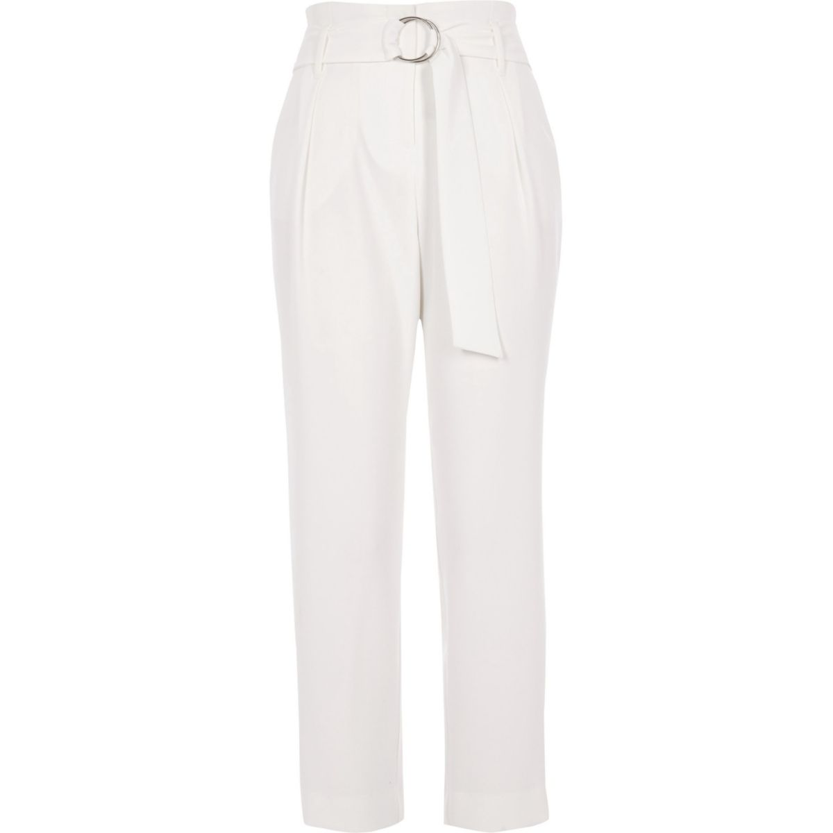 White high waisted ring belt tapered trousers