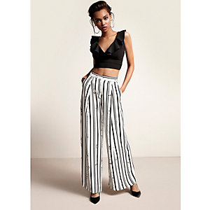 Black stripe print wide leg pants