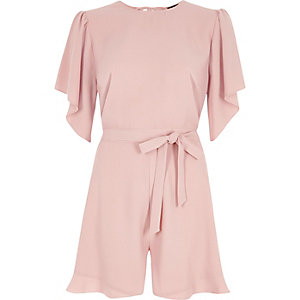 Nude tie waist short frill playsuit