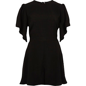 Black frill short sleeve playsuit