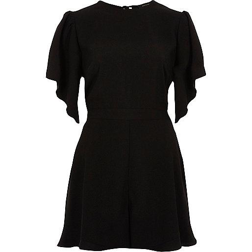 Black frill short sleeve playsuit