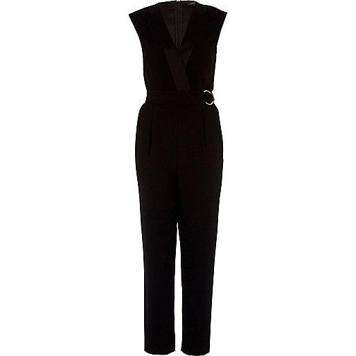 Black sleeveless tailored jumpsuit