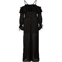 Combinaison Bardot noire à manches longues et jambes larges