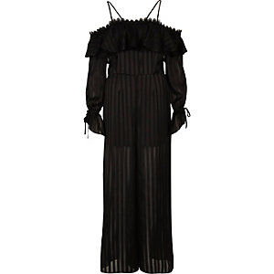 Black bardot long sleeve wide leg jumpsuit