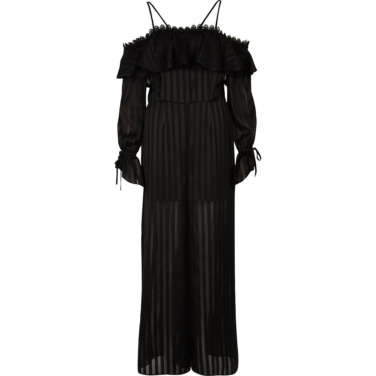 Black bardot long sleeve wide leg jumpsuit