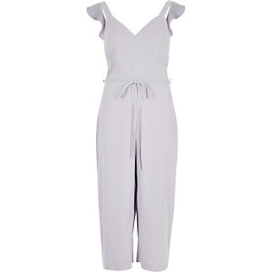 Light grey frill shoulder culotte jumpsuit