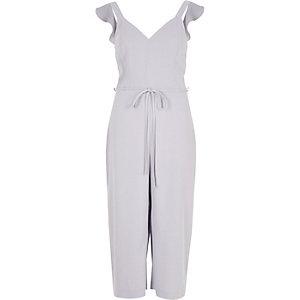 Light grey frill shoulder culotte jumpsuit