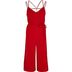 Red tie waist strappy back culotte jumpsuit
