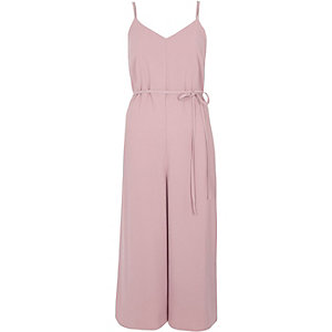 Light pink cami strappy back culotte jumpsuit
