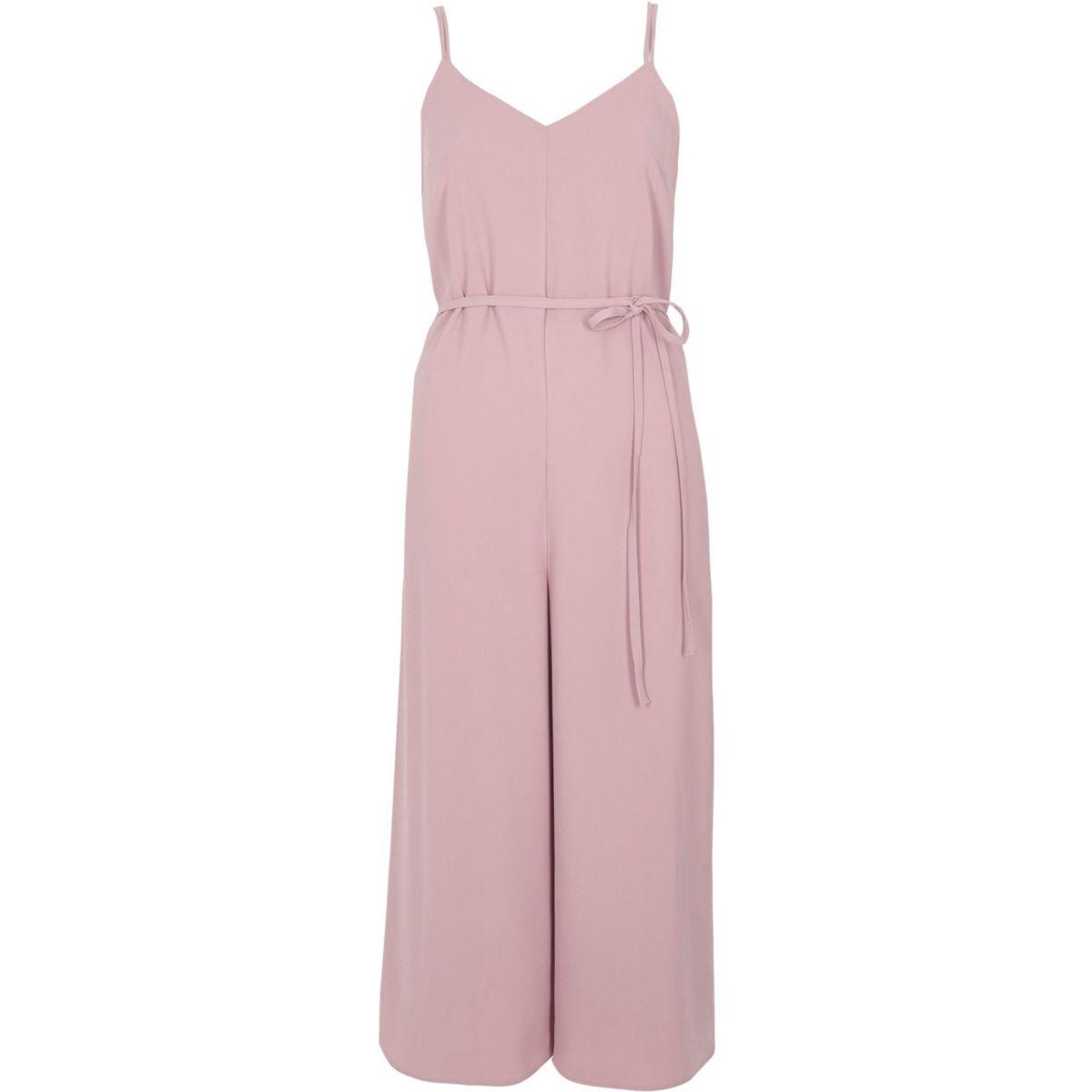 Light pink cami strappy back culotte jumpsuit