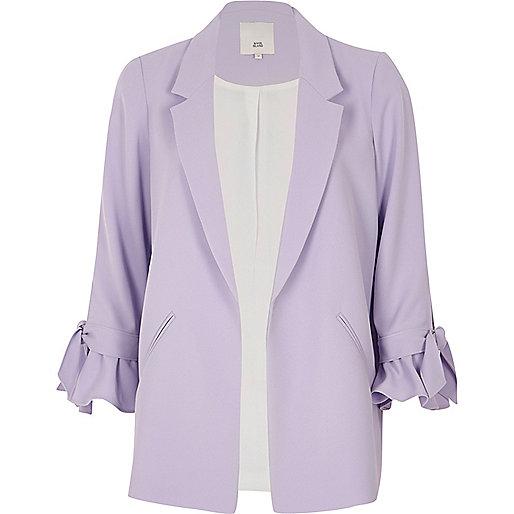 Light purple frill cuff blazer
