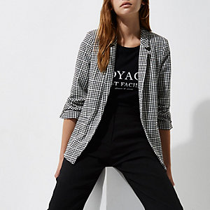 Black houndstooth check bar cuff blazer