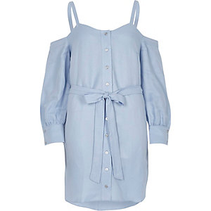 Blue cold shoulder tie waist button-up dress