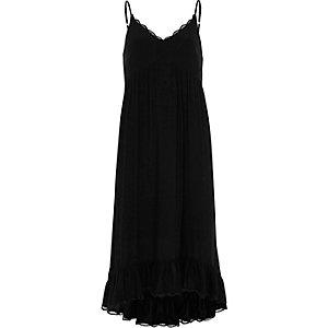 Black frill hem maxi slip dress