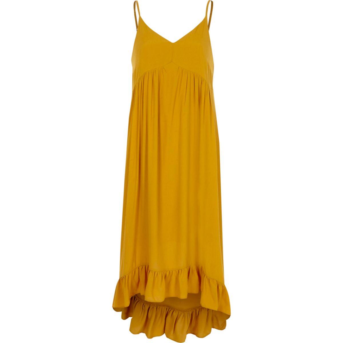 Dark yellow frill hem maxi slip dress