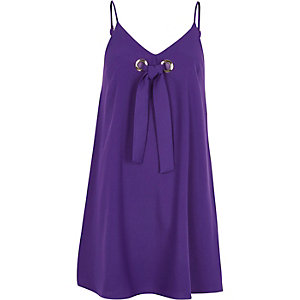 Purple tie front eyelet mini slip dress