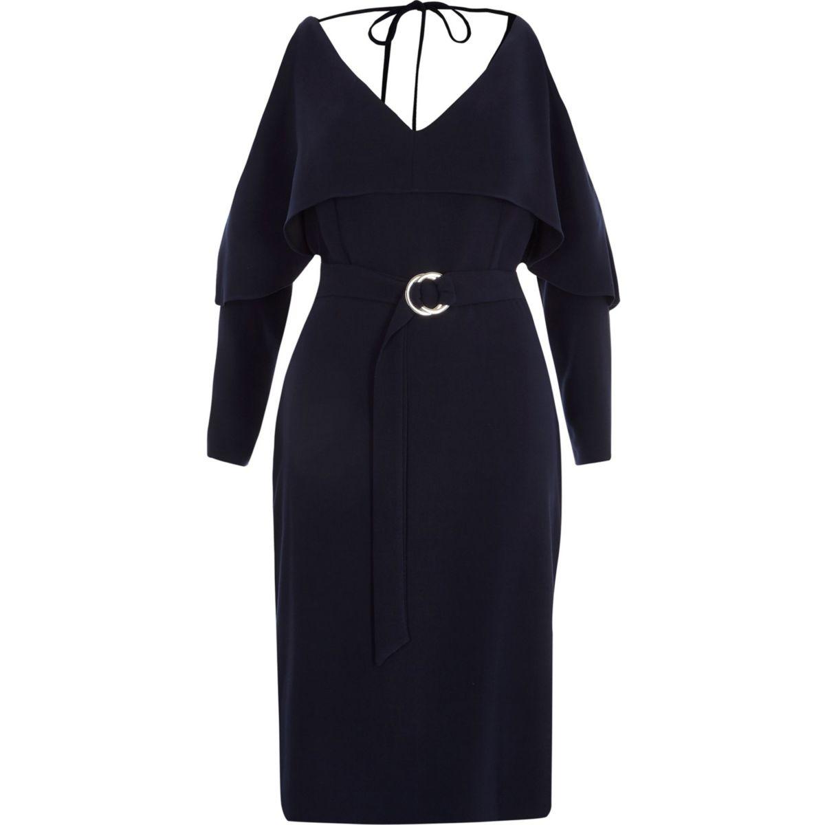 Navy cold shoulder frill belted dress