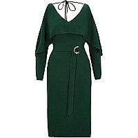 Green long sleeve cold shoulder belted dress