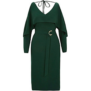 Green long sleeve cold shoulder belted dress