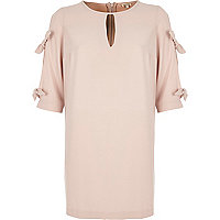 Nude pink cut out bow sleeve swing dress
