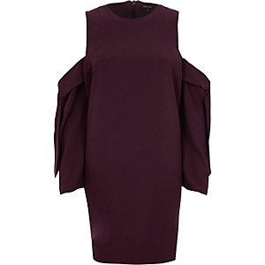 Burgundy cold shoulder long sleeve mini dress