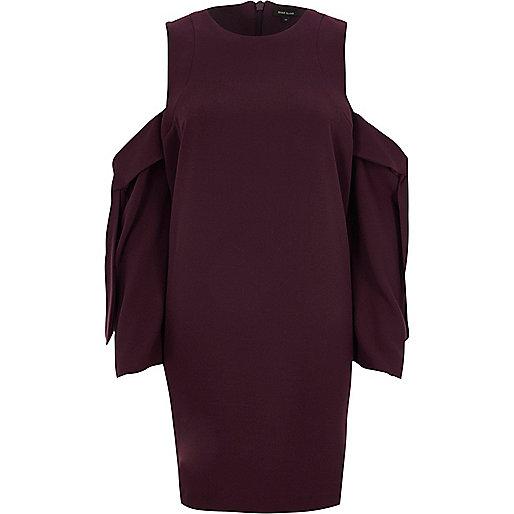 Burgundy cold shoulder long sleeve mini dress