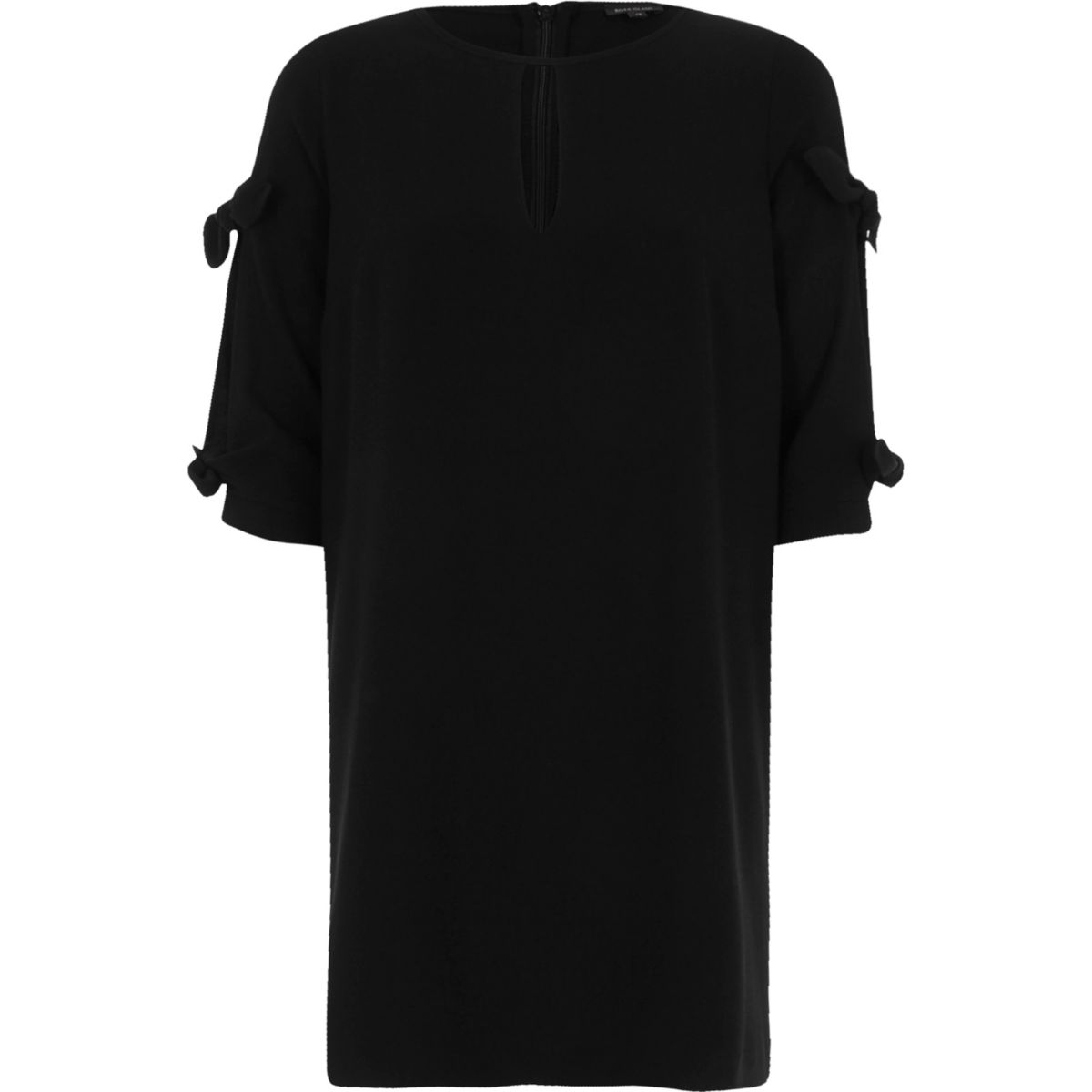 Black cut out bow sleeve swing dress