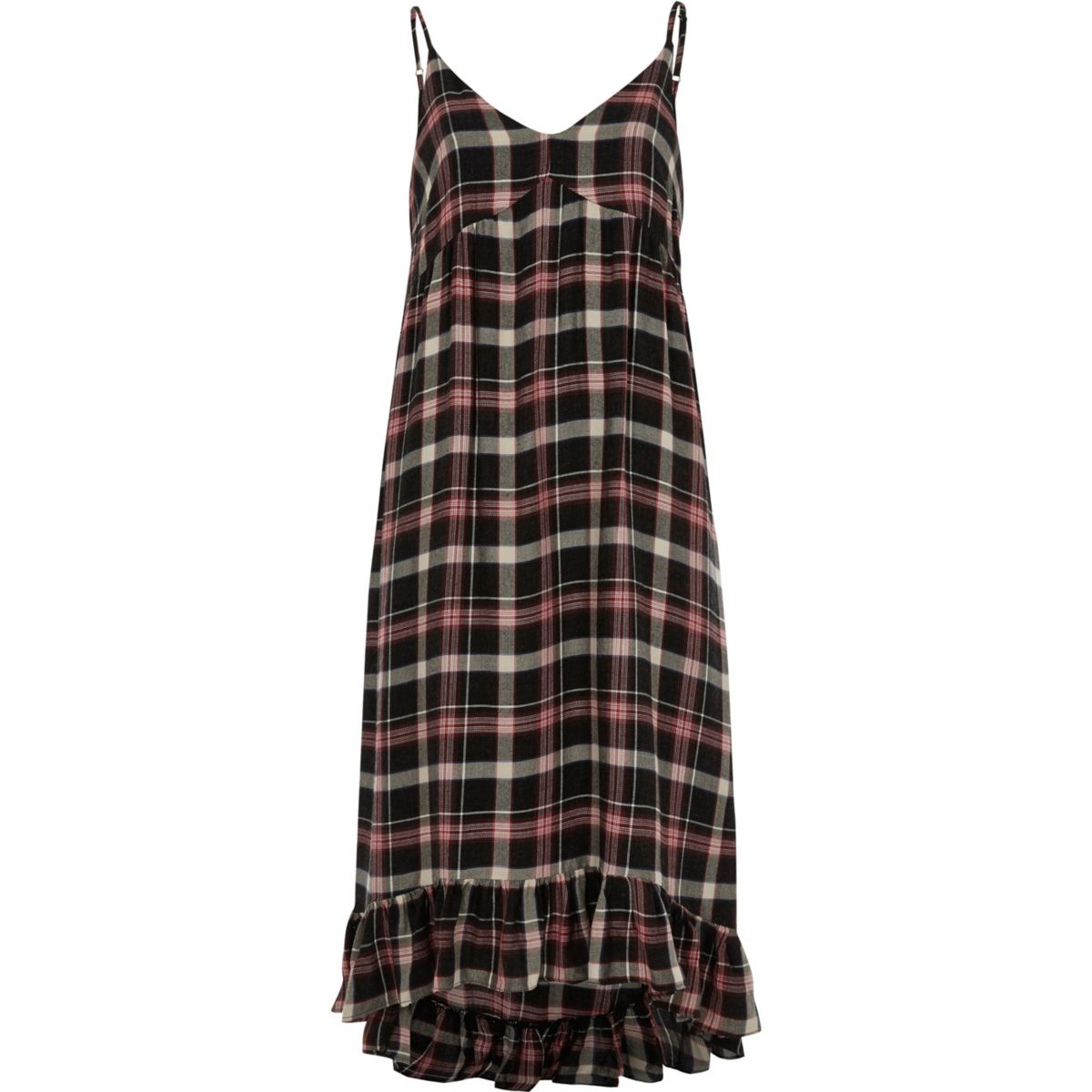 Red check frill hem maxi slip dress