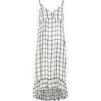 White check frill hem maxi slip dress