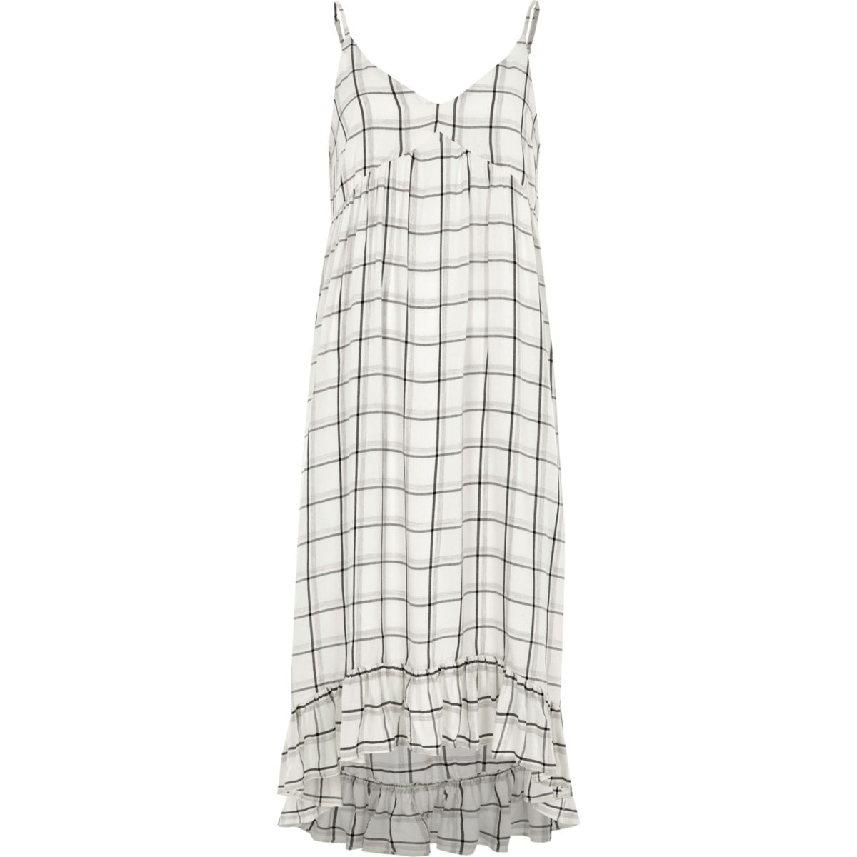 White check frill hem maxi slip dress